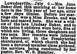 Elizabeth Jane Janie <i>Brooks</i> Baker
