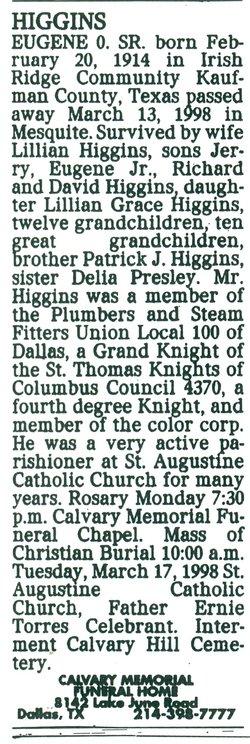 Eugene Owen Higgins, Sr