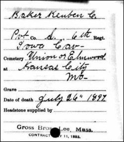 Pvt Reuben C Baker