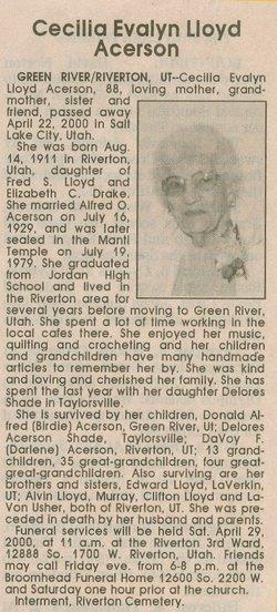 Cecilia Evalyn <i>Lloyd</i> Acerson