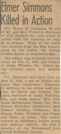 Pvt Elmer Edmund Dutch Simmons