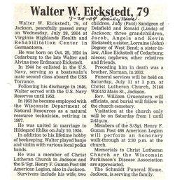 Walter W Eickstedt