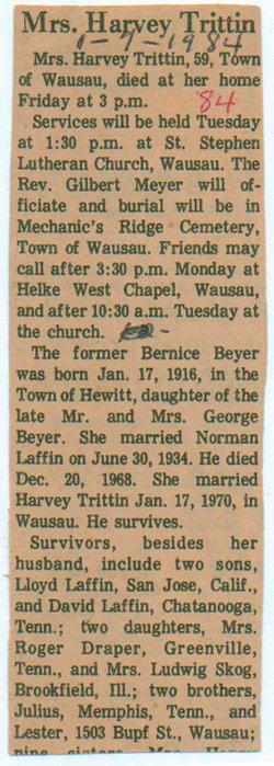 Bernice Agnes Annie <i>Beyer</i> Laffin - Trittin