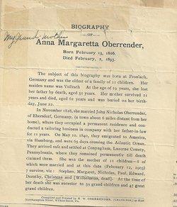 Anna Margaretha <i>Vollrath</i> Oberrender