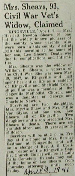 Harriet <i>Newton</i> Shears