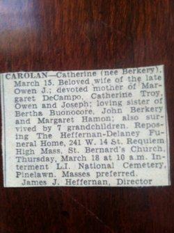 Catherine Veronica <i>Berkery</i> Carolan