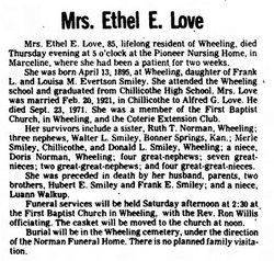 Ethel Ester <i>Smiley</i> Love
