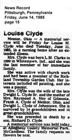 Louise M <i>Clark</i> Clyde