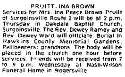 Ina Peace <i>Brown</i> Pruitt