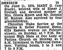 Mary C <i>Steck</i> Dreisch