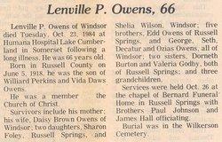 Lenville P Owens