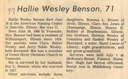 Hallie B <i>Wesley</i> Benson