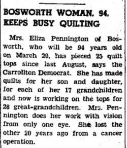 Eliza Ellen <i>Benjamin</i> Pennington