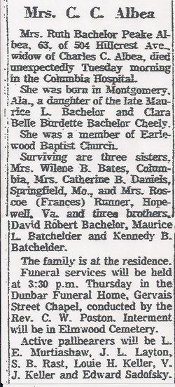 Ruth Peake <i>Bachelor</i> Albea