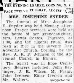 Josephine Elizabeth <i>Clark</i> Snyder