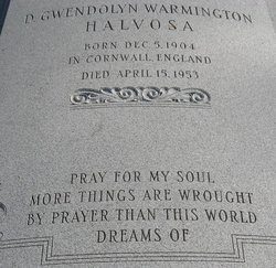 D Gwendolyn <i>Warmington</i> Halvosa