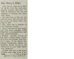Mary <i>Sykes</i> Allen