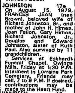 Frances Jean <i>Brown</i> Johnston