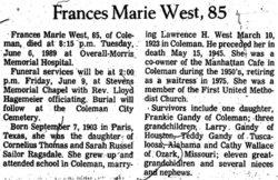 Frances Marie <i>Ragsdale</i> West