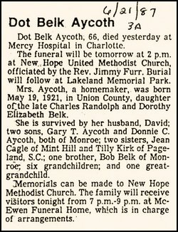 Dorothy Dean <i>Belk</i> Aycoth