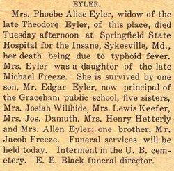 Phoebe Alice <i>Freeze</i> Eyler