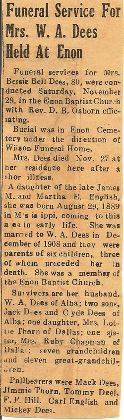 Bessie Bell <i>English</i> Dees