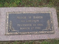 Alice H <i>Carlson</i> Baker