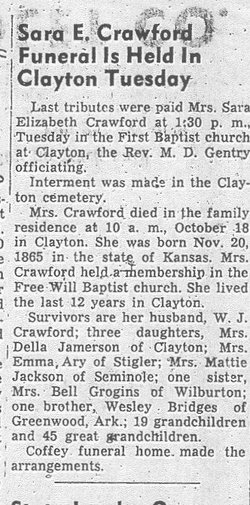 Sarah Elizabeth <i>Bridges</i> Crawford