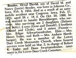 Orval David Bender