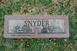 Mary Jane <i>Leinbach</i> Snyder