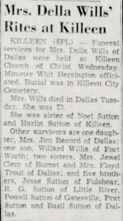 Della Bell <i>Sutton</i> Wills