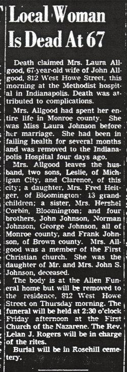 Laura A. <i>Johnson</i> Allgood