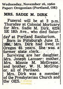 Sarah Scott Sadie <i>McGregor</i> Dirk