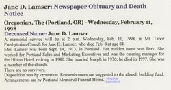 Jane Virginia <i>Dirk</i> Lamser