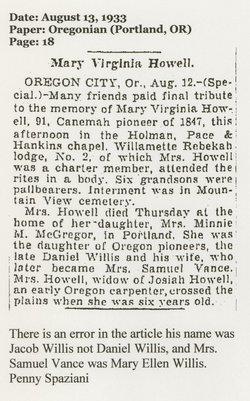 Mary Virginia <i>Willis</i> Howell
