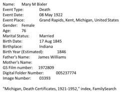 Mary Mollie <i>Williams</i> Bixler
