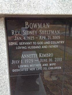 Rev Sidney Sheltman Sid Bowman