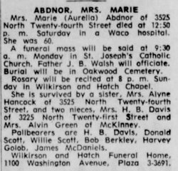 Mary (Marie) Aurelia <i>Woodall</i> Abdnor
