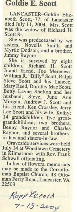 Goldie Elizabeth <i>Raynor</i> Scott