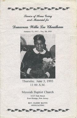 Deacon Willa Lee Willie <i>Fortney</i> Cheatham