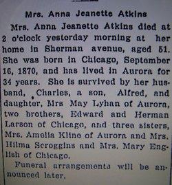 Alma Jeanette <i>Larson</i> Atkins