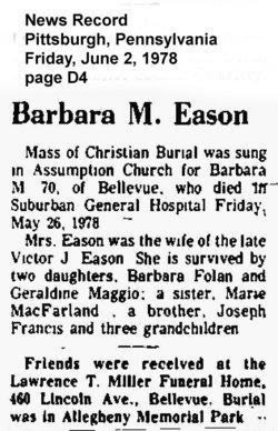 Barbara M. <i>Francis</i> Eason