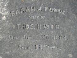 Sarah J <i>Fonde</i> Wier