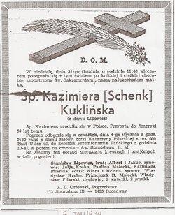 Kazimiera <i>Lipowicz</i> Schenk-Kuklinski