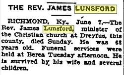Rev James Lunsford