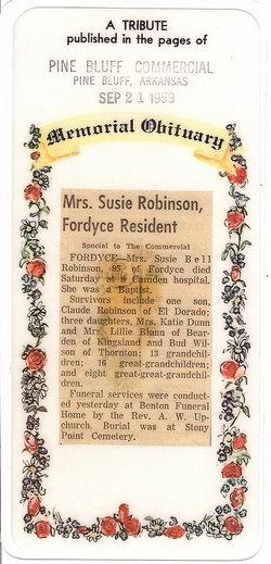 Susan Bell Susie <i>Wilson</i> Robinson