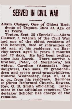 Pvt Adam Clowser Clauser