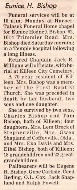 Eunice Earls <i>Hodnett</i> Bishop