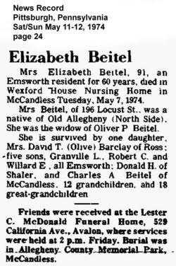 Elizabeth O <i>Stewart</i> Beitel