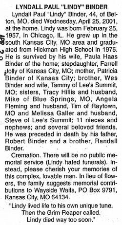 Lyndall Paul Lindy Binder